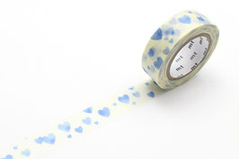 Washi lepilni trak - heart stamp blue