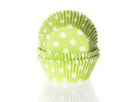Papirčki za mafine - limeta zeleni z belimi pikami