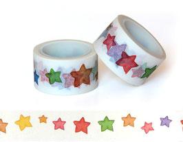 Washi lepilni trak - širok z akvarelnimi zvezdami