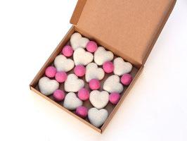 Set srčkov in kroglic iz filca za girlando ali drugo ustvarjanje (mobile, ...)