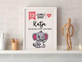Individualizirana grafika ob rojstvu otroka z motivom živalice
