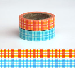 Set dveh washi lepilnih trakov - Tartan Yellow-Blue