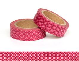 Washi lepilni trak - bordo-roza karo