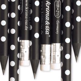 Svinčnik - črn z belimi pikami
