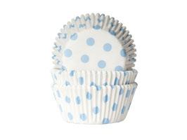 Papirčki za mafine - beli z modrimi pikami