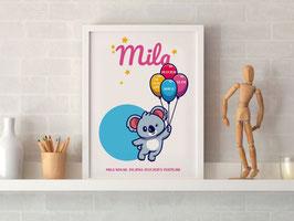 Individualizirana grafika ob rojstvu deklice z motivom balonov