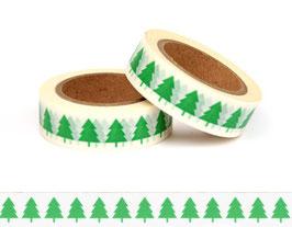 Washi lepilni trak - zelene smrečice na belem ozadju