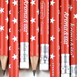 Svinčnik - rdeč z belimi zvezdicami