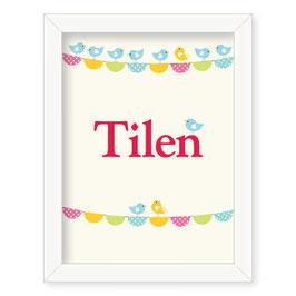 """Individualizirana otroška grafika z motivom zastavic """"Tilen"""""""