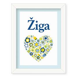 """Individualizirana otroška grafika z motivom cvetličnega srčka """"Žiga"""""""