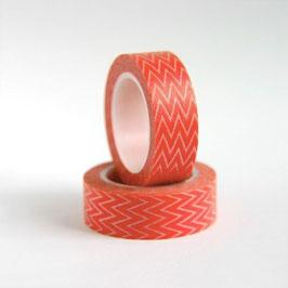Washi lepilni trak - oranžno rdeč z drobnim cik-cak vzorcem