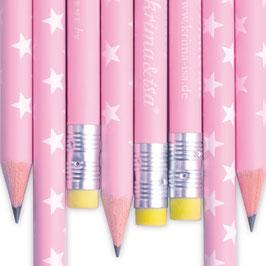 Svinčnik - roza z belimi zvezdicami