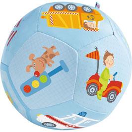Mehka žogica - modra z motivom različnih vozil za fantke