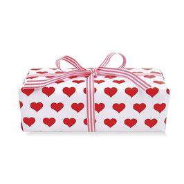 Zavijalni papir - bel z rdečimi srčki