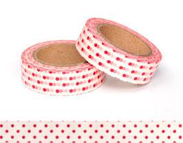 Washi lepilni trak - bel z rdečimi pikami