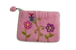 Toaletna torbica z rožicami - roza