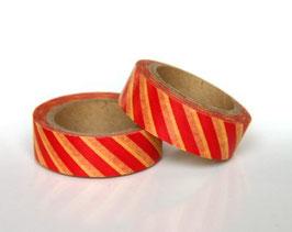 Washi lepilni trak - črtast rumeno rdeč