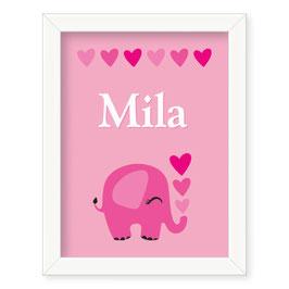 "Individualizirana dekliška grafika z motivom slončka ""Mila"""