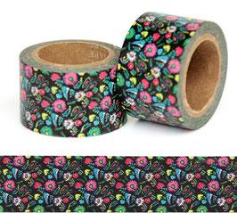 Washi lepilni trak - širok – drobne pisane cvetlice na črnem ozadju