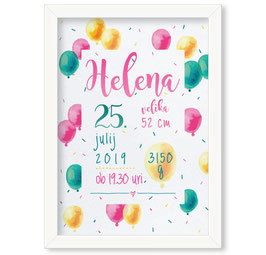 "Individualizirana grafika ob rojstvu deklice z motivom balonov ""Helena"""
