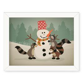 """Grafika """"Snežak in rakuni"""""""