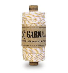 Bombažna dekorativna vrvica garn - rumeno-bela