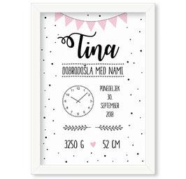"Individualizirana grafika ob rojstvu deklice z ure ""Tina"""