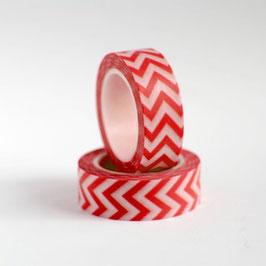 Washi lepilni trak - rdeč s cik-cak vzorcem