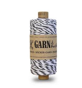 Bombažna dekorativna vrvica garn - črno-bela
