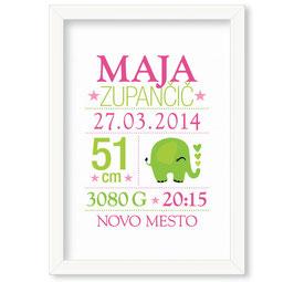 """Individualizirana dekliška grafika ob rojstvu deklice z motivom zelenega slončka """"Maja"""""""