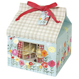 Darilna škatla v obliki hišice z rožicami