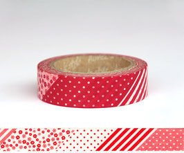 Washi lepilni trak - Flower Patchwork Red