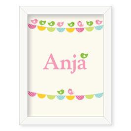 "Individualizirana otroška grafika z motivom zastavic ""Anja"""