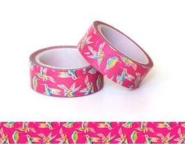 Washi lepilni trak - pink s pisanimi ptički