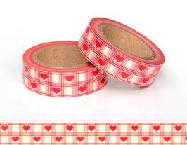 Washi lepilni trak - rdeči srčki na gingham vzorcu