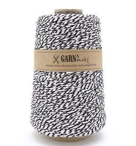 Bombažna dekorativna vrvica garn - črno bela (veliko navitje)