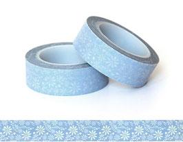 Washi lepilni trak - bele marjetice na sivo-modrem ozadju