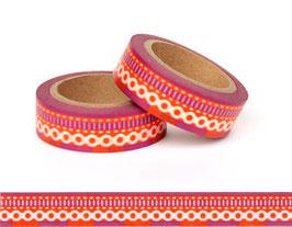 Washi lepilni trak - čipka na oranžno-vijoličnem ozadju