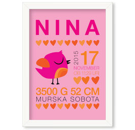 """Individualizirana grafika ob rojstvu deklice z motivom ptička in srčkov """"Nina"""""""