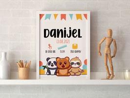 Individualizirana grafika ob rojstvu otroka z živalicami na zabavi