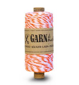 Dekorativna vrvica garn - neonsko oranžno-bela