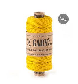 Bombažna dekorativna vrvica garn - rumena (gorčica) 2 mm