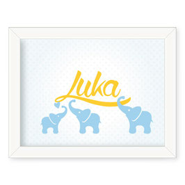 "Individualizirana deška grafika s tremi slončki ""Luka"""