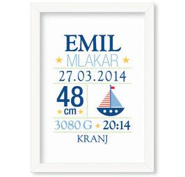 "Individualizirana deška grafika ob rojstvu fantka z motivom barke ""Emil"""