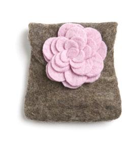 Toaletna torbica - rjava z roza vrtnico