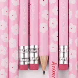 Svinčnik - roza z belimi rožicami