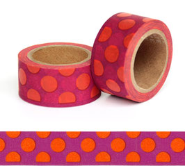 Washi lepilni trak - širok – oranžne pike na bordo ozadju