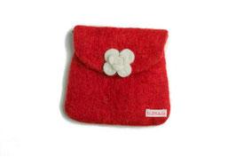 Toaletna torbica - rdeča z belo vrtnicvo
