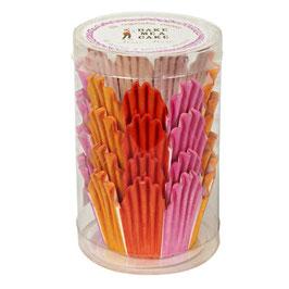 Papirčki za mafine v prozorni škatli - roza-rdeče-oranžne barve