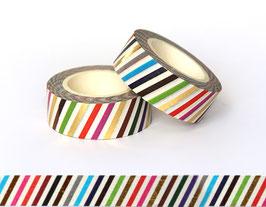 Washi lepilni trak - živo-barvne poševne  črte s pozlato